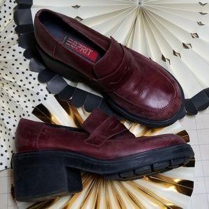 Vintage 90's Platform Esprit Penny Loafers 6.5